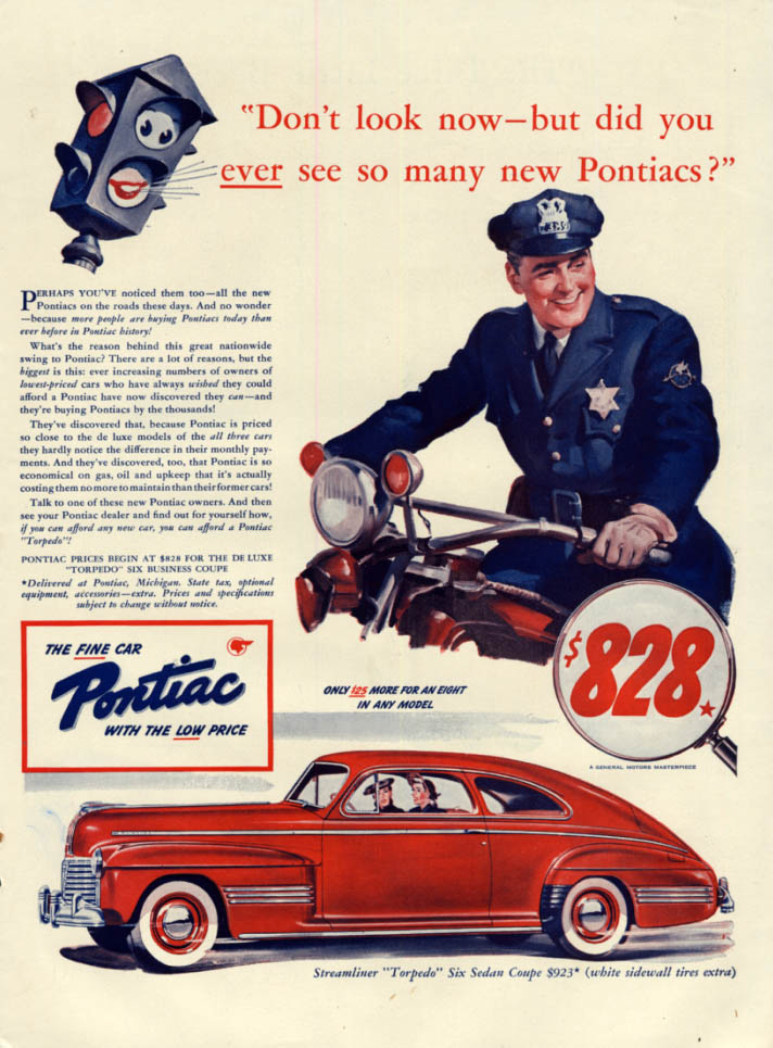 Image for Did you ever see so many new Pontiac Torpedo Sedans? 1941 motorcycle cop L