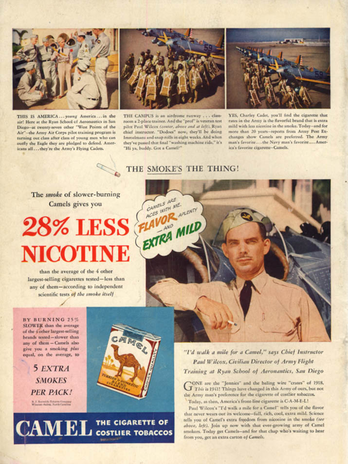 US Army Flight Instructor Paul Wilcox San Diego for Camel Cigarettes ad 1941 L