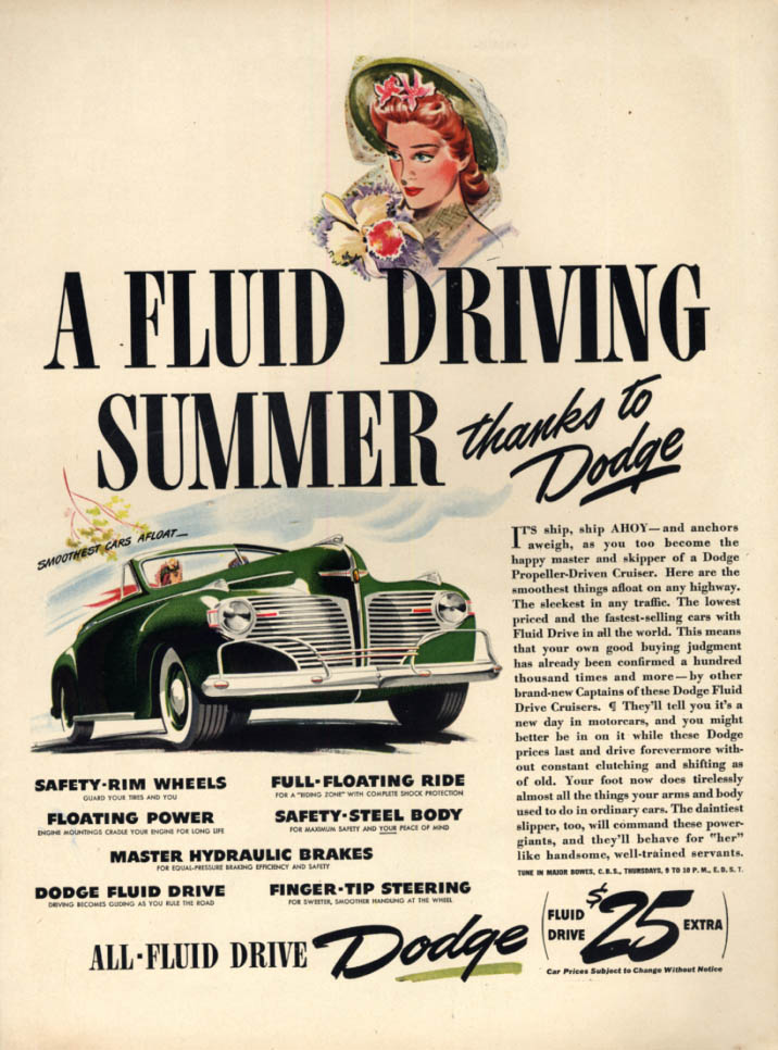 A Fluid Driving Summer thanks to Dodge Convertible Coupe ad 1941 L