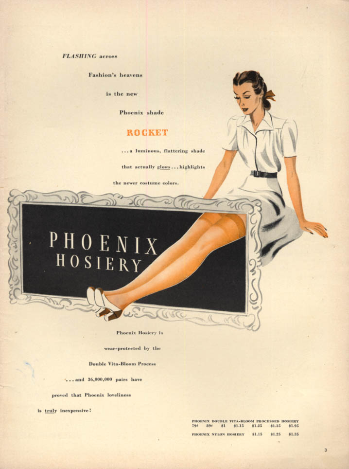 Image for Flashing across Fashion's heavens Phoenix Rocket shade Hosiery ad 1940 L