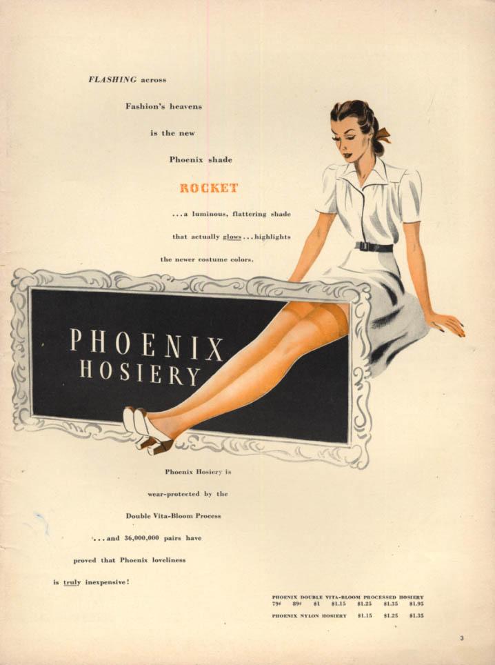 Flashing across Fashion's heavens Phoenix Rocket shade Hosiery ad 1940 L