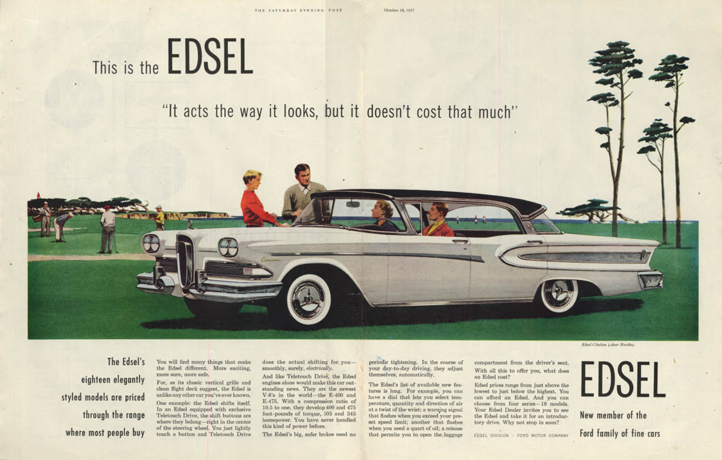 Acts the way it looks but doesn't cost that much Edsel Citation ad 1958 SEP