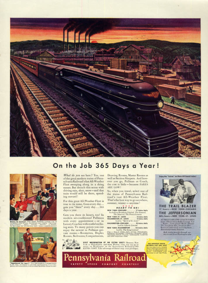 Image for On the Job 365 Days a Year! Pennsylvania Railroad S1 6-8-6 locomotive ad 1941 L