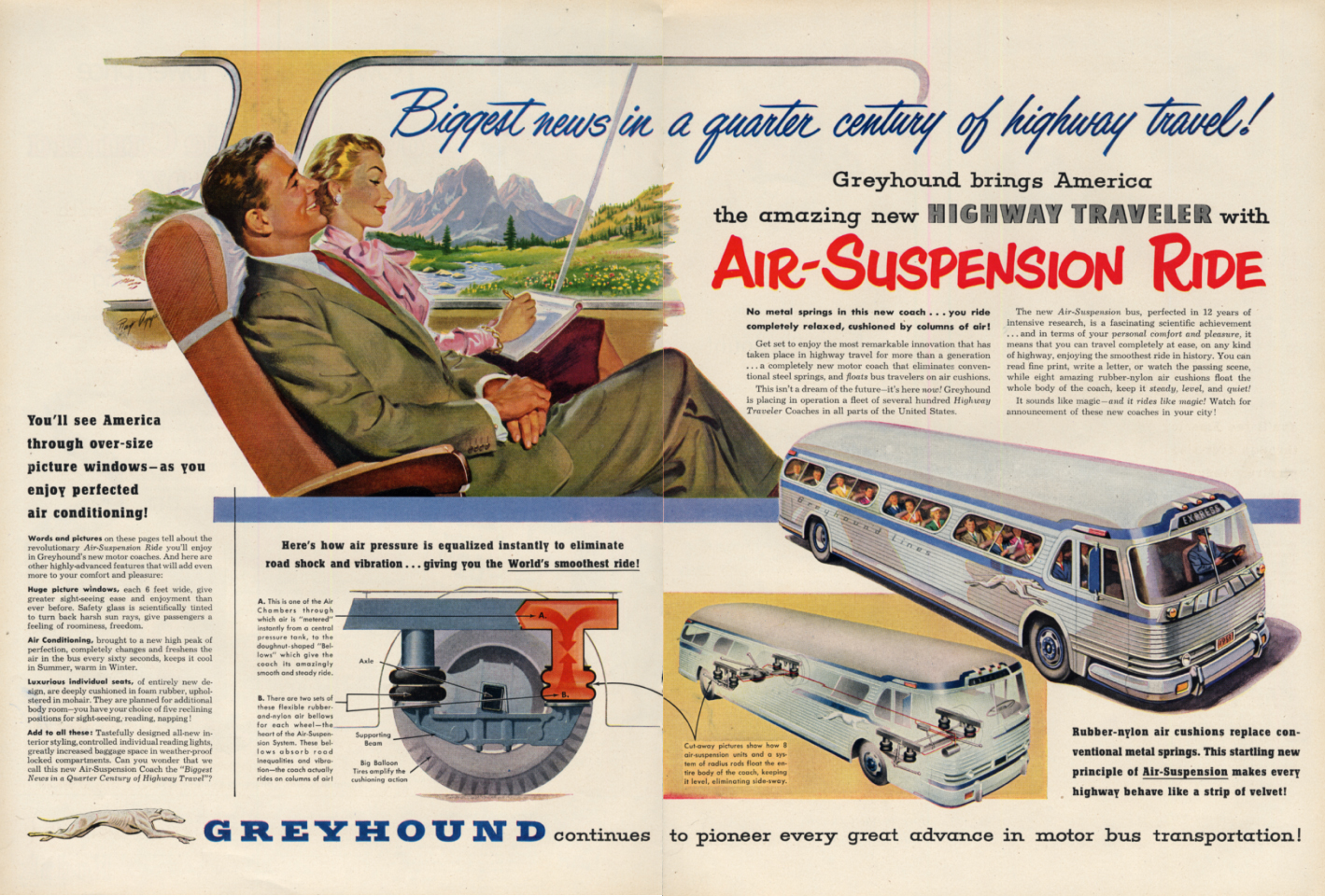Image for Biggest news in a quarter century Greyhound Bus Air Suspension Ride ad 1953 L