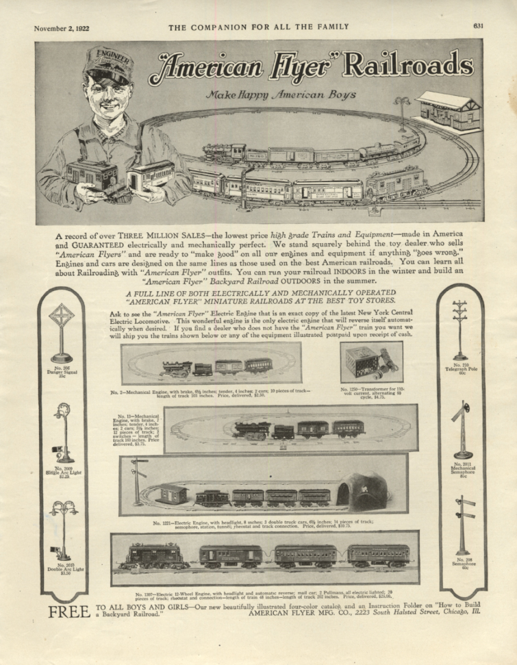 American Flyer Electric Trains Make Happy American Boys ad 1922 YC