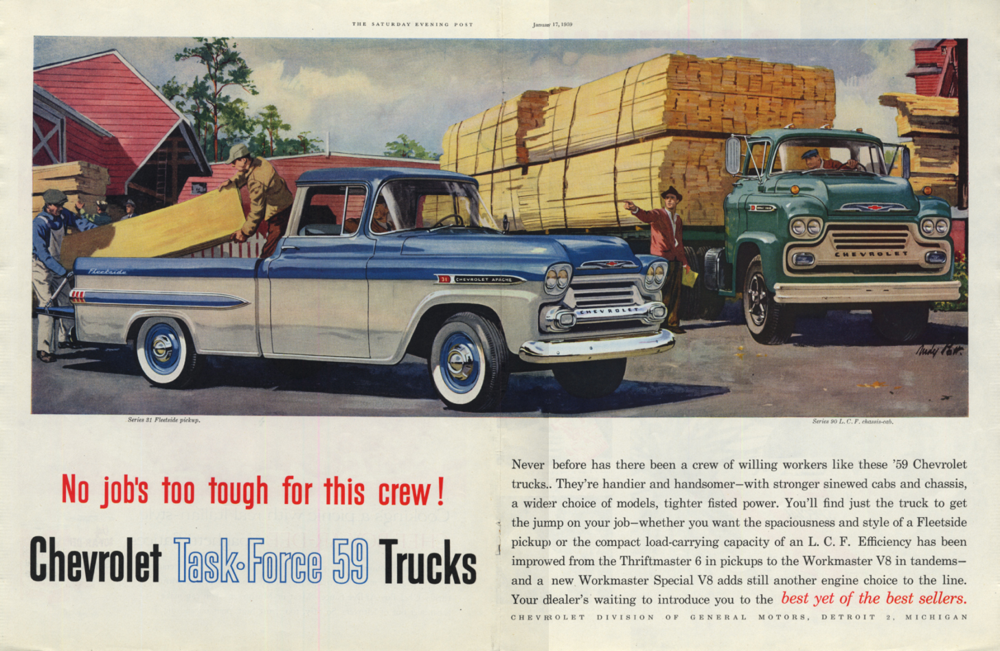 Image for No jobs too tough. Chevrolet Fleetside Pickup & Lumber Semi ad 1959 SEP