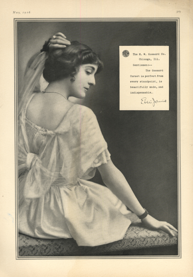 Image for Actress Elsie Janis for Gossard Corsets ad 1916  TH