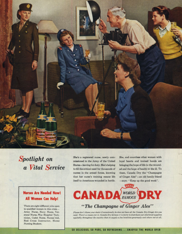Image for Spotlight on Service US Army & Navy Nurses for Canada Dry Ginger Ale ad 1945 COL
