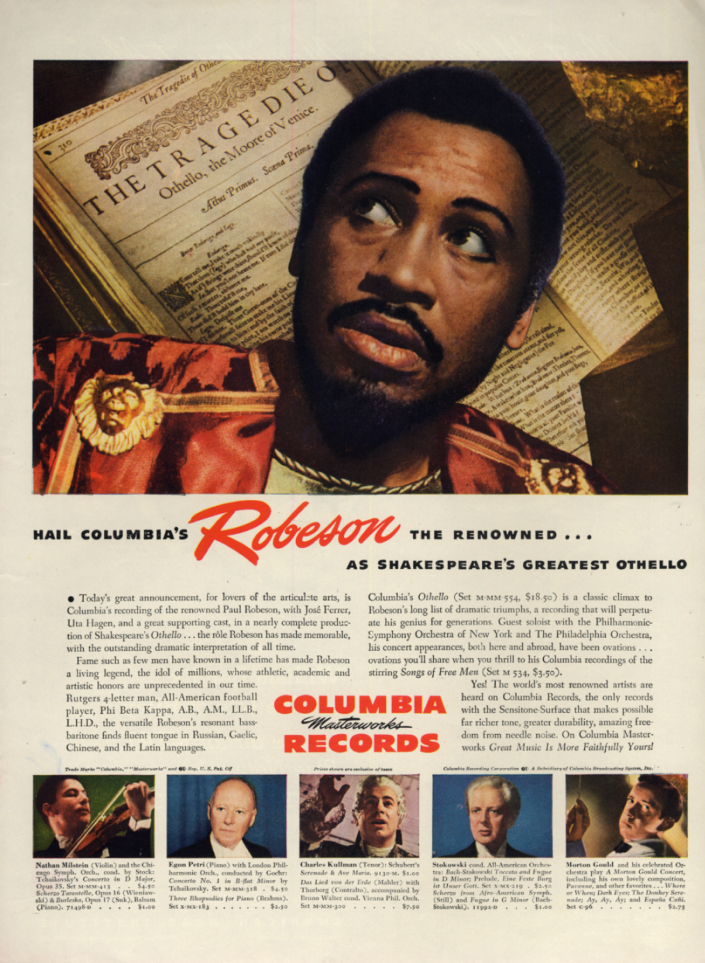 Image for Paul Robeson as Othello on Columbia Masterworks Records ad 1946 L