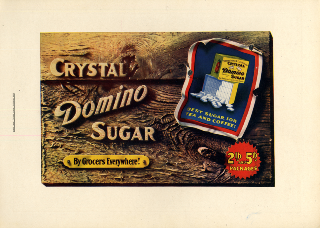 Image for Crystal Domino Sugar by Grocers everywhere 2lb & 5lb packages! Ad 1909 CL