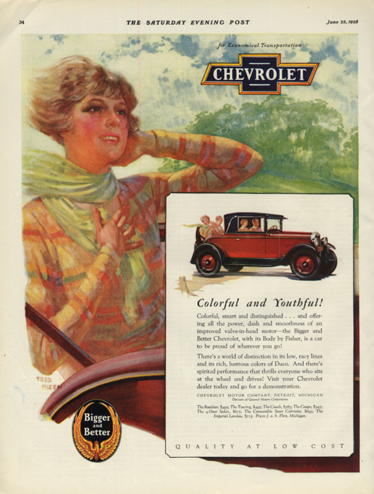 Image for Colorful & Youthful! Chevrolet Cabriolet Rumble Seat Coupe ad 1928 SEP