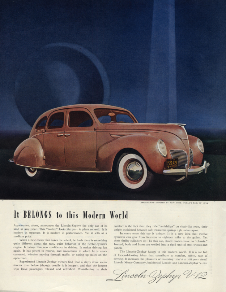 Image for It belongs to the modern world Lincoln-Zephyr ad 1938 1939 NY World's Fair 1939