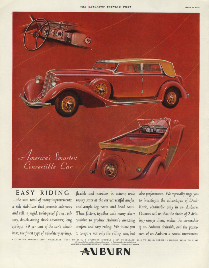 Image for America's Smartest Convertible Easy Riding Auburn Convertible Sedan ad 1934 SEP