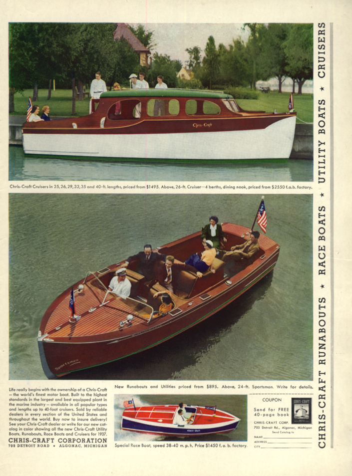 Chris-Craft Runabouts Race Boats Utility Boats & Cruisers ad 1937 L