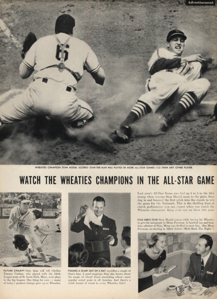 Image for watch the Wheaties Champions in the All-Star Game Stan Musial ad 1956 L