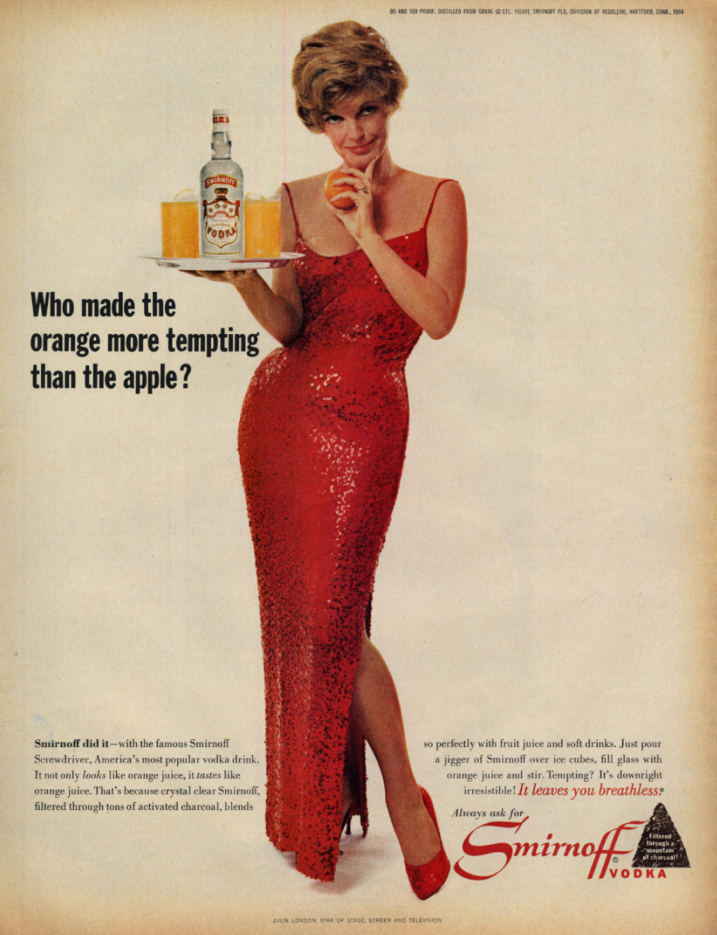 Image for Who made orange more tempting than apple? Julis London Smirnoff Vodka ad 1964 L