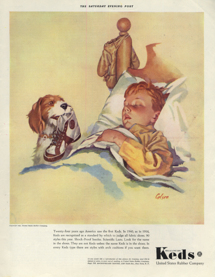 Image for US Rubber Keds Sneakers ad 1940 baseball boy sleeps dog holds shoe by Colson SEP