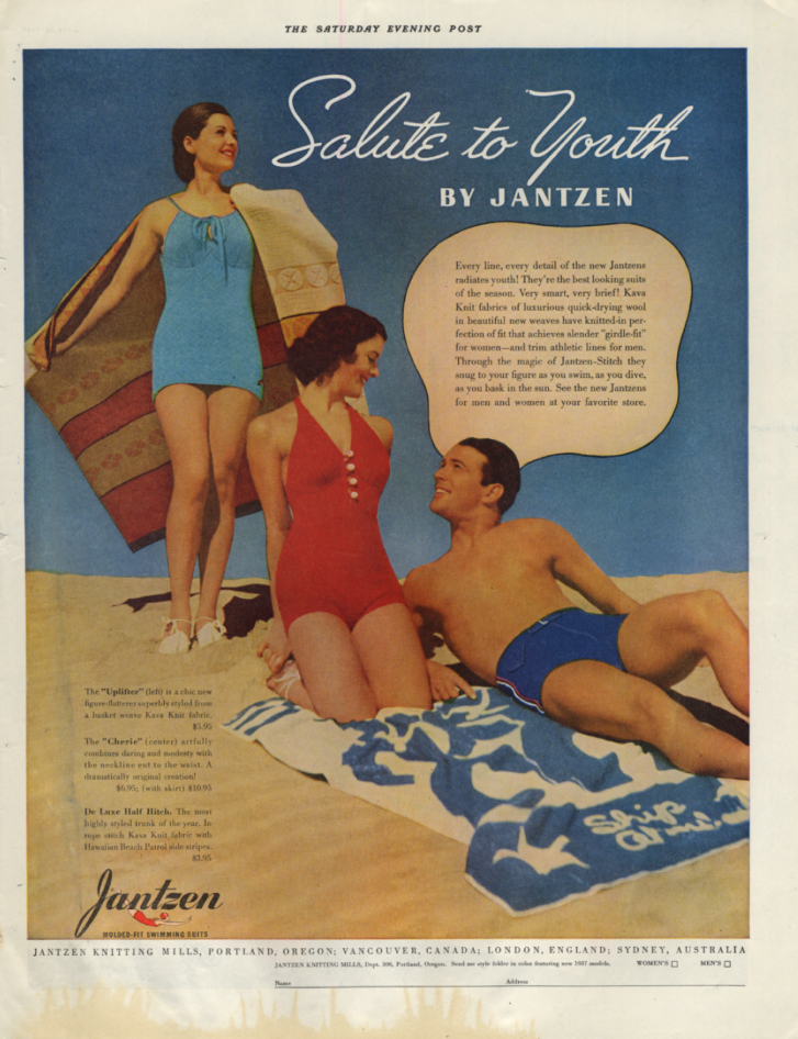 Image for Salute to Youth by Jantzen - women's & men's swimsuit ad 1937 SEP