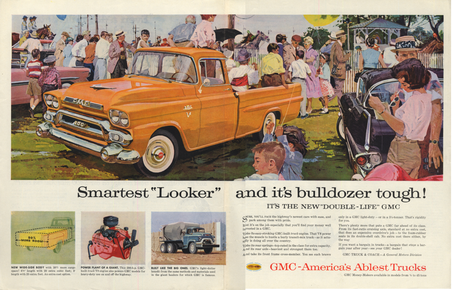 Image for Smartest Looker & it's bulldozer tough! GMC 100 V-8 Pickup Truck ad 1958 SEP