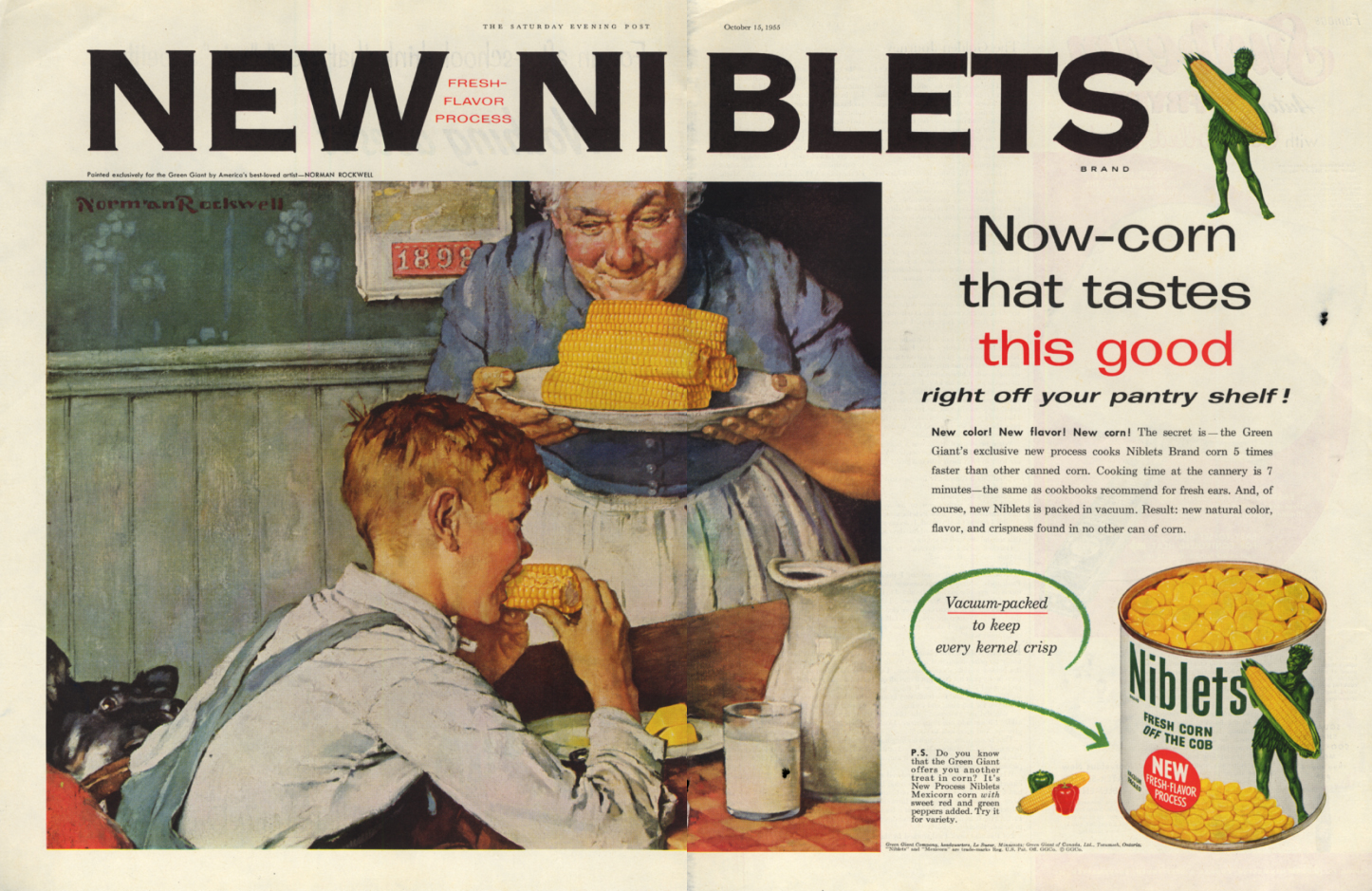 Image for New Niblets - Now corn that tastes this good ad 1955 Norman Rockwell SEP