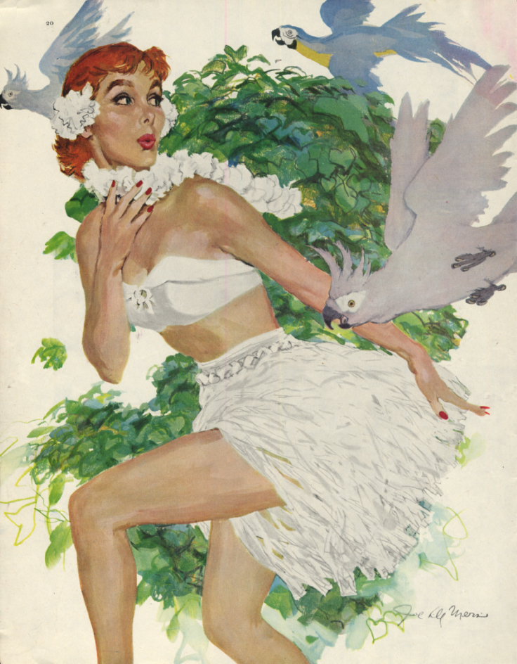 Joe De Mers pin-up magazine page redhead with cockatoos 1955 SEP