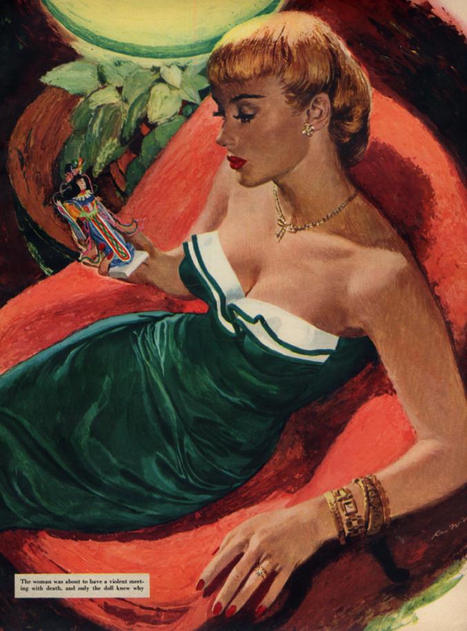 Ren Wicks pin-up magazine page: blonde GGA strapless gown ESQ 1950