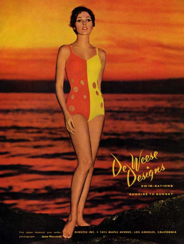 Image for De Weese Designs Swim-Sations Sunrise to Sunset swimsuit ad 1966 HBZ