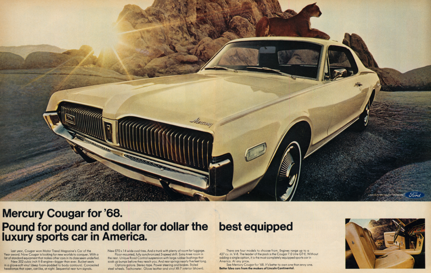 Best equipped luxury sports car in America - Mercury Cougar ad 1968 LK