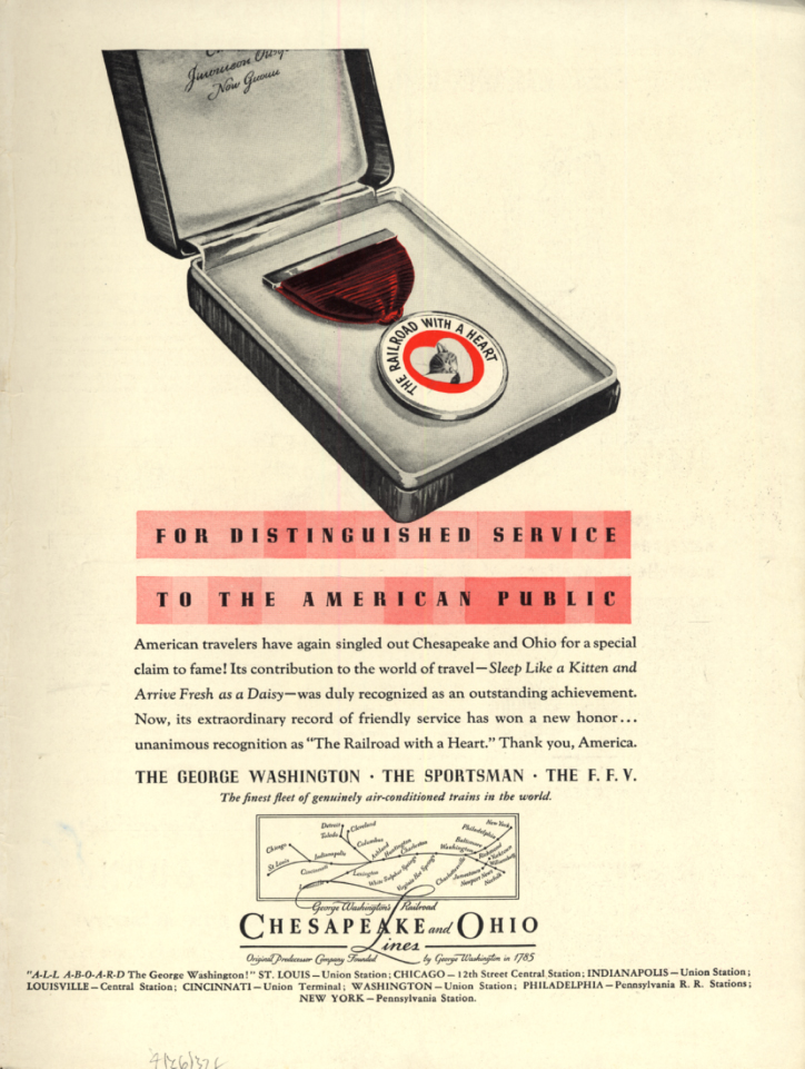 Image for For distinguished service to the American Public Chesapeake & Ohio RR ad 1937 L