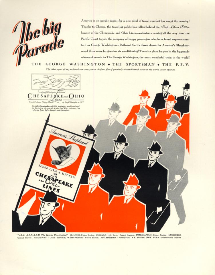 Image for The big Parade - Chesapeake & Ohio RR Sleep like a Kitten ad 1936 F