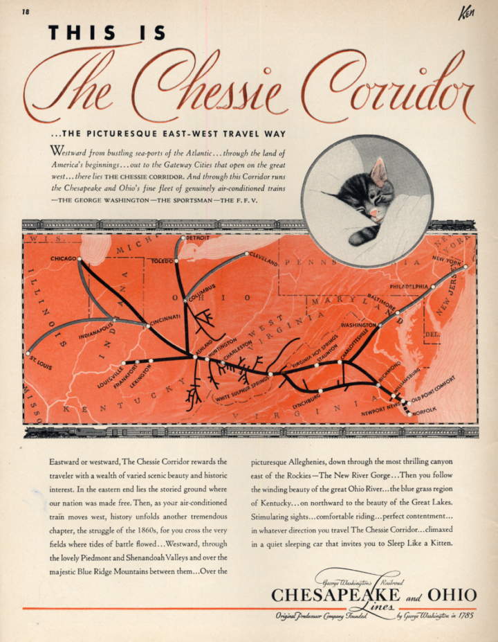 Image for This is the Chessie Corridor - Chesapeake & Ohio RR ad 1938 KEN
