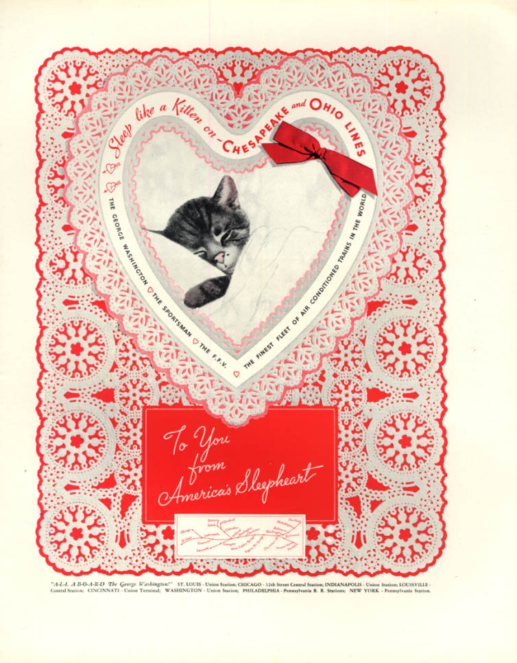 Image for For you from America's Sleepheart Chessie Valentine Chesapeake & Ohio RR ad 1936
