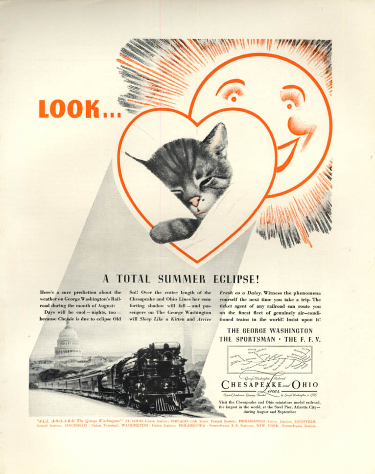 Image for Look - a Total Summer Eclipse - Chesapeake & Ohio RR Chessie ad 1936 F