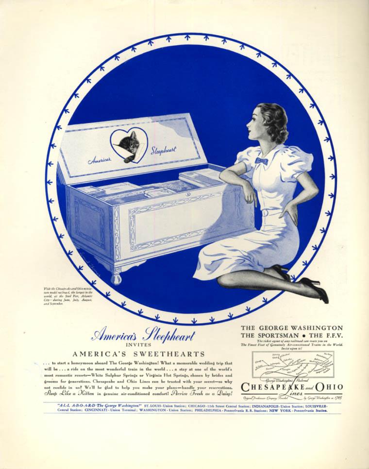 Image for America's Sleepheart invites America's Sweethearts Chesapeake & Ohio ad 1936 F