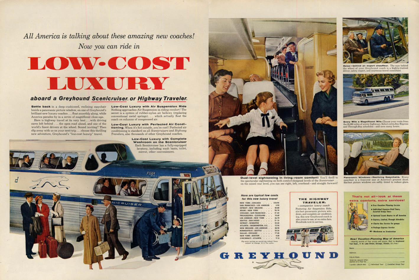 Low-Cost Luxury in Greyhound Bus Scenicruiser or Highway Traveler ad 1955 L