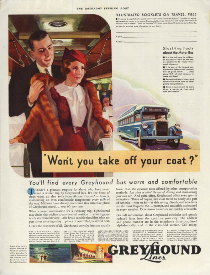 Image for Won't you take off your coat? Greyhound Bus warm & comfortable ad 1933
