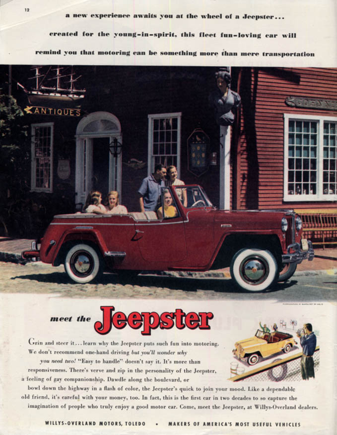 A new experience awaits you - Meet the Jeepster ad 1949 Col