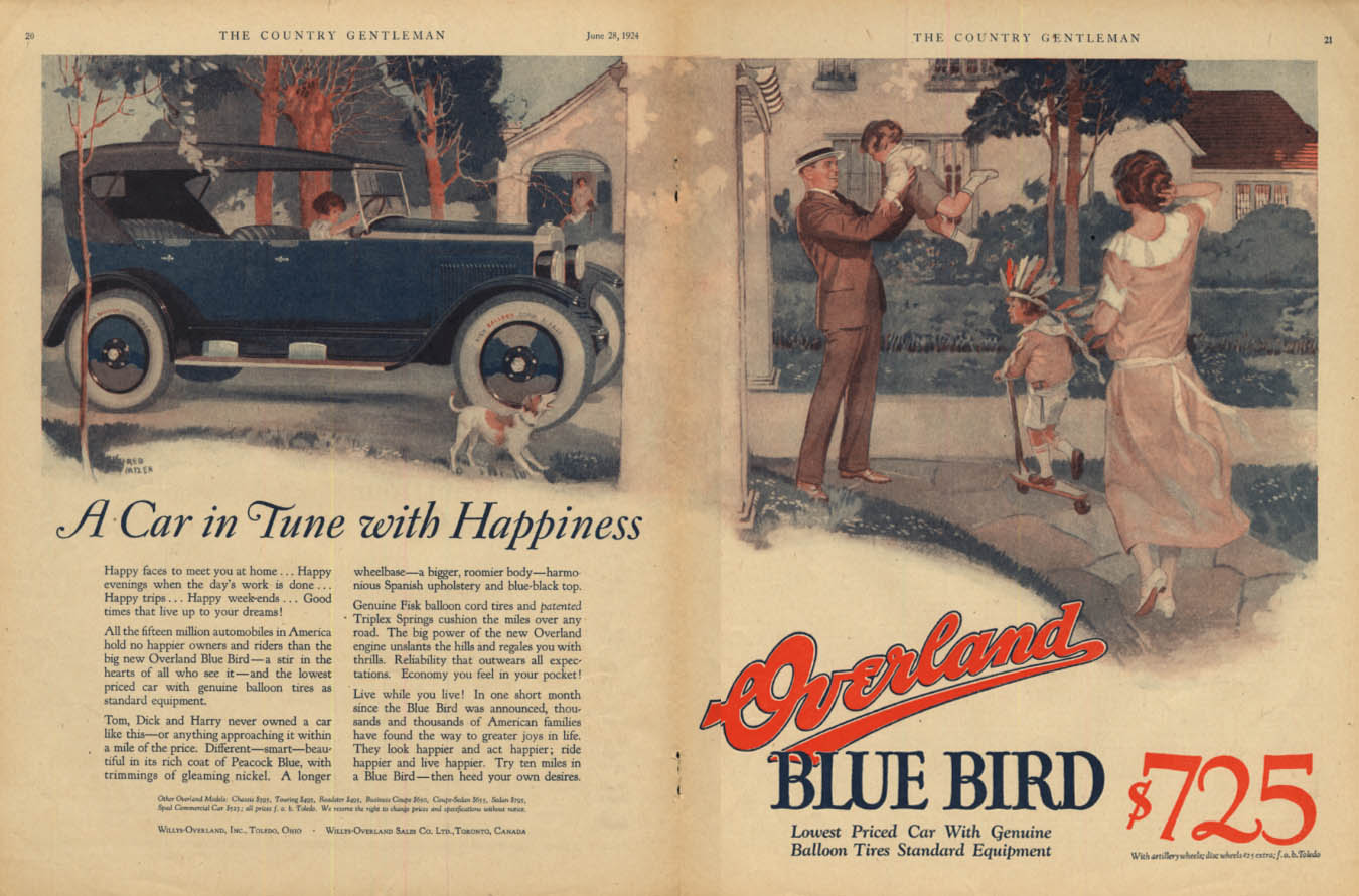 A Car in Tune with Happiness - Overland Blue Bird Touring Car ad 1924 CG
