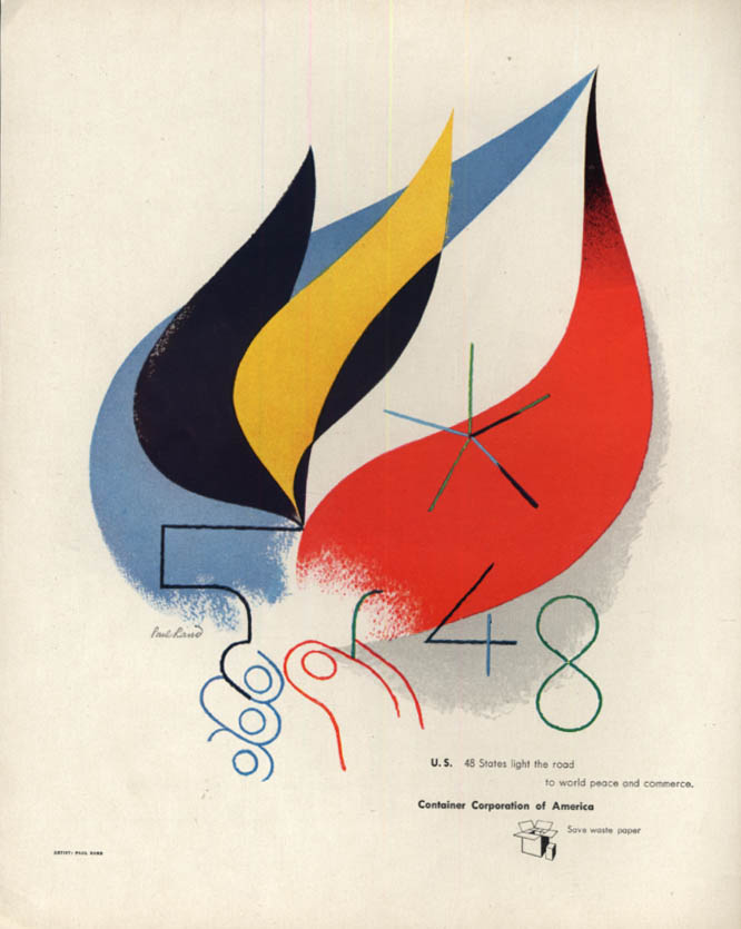 Image for 48 States light the road to world peace Container Corporation ad 1946 Paul Rand
