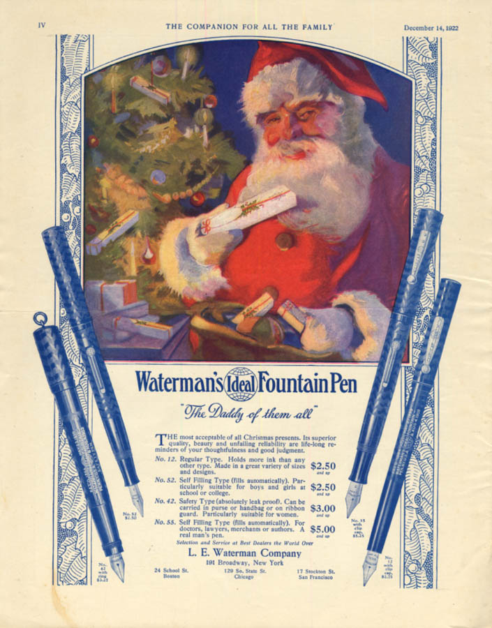 Image for The Daddy of them all Waterman's Ideal Fountain Pen ad 1922 Santa Claus