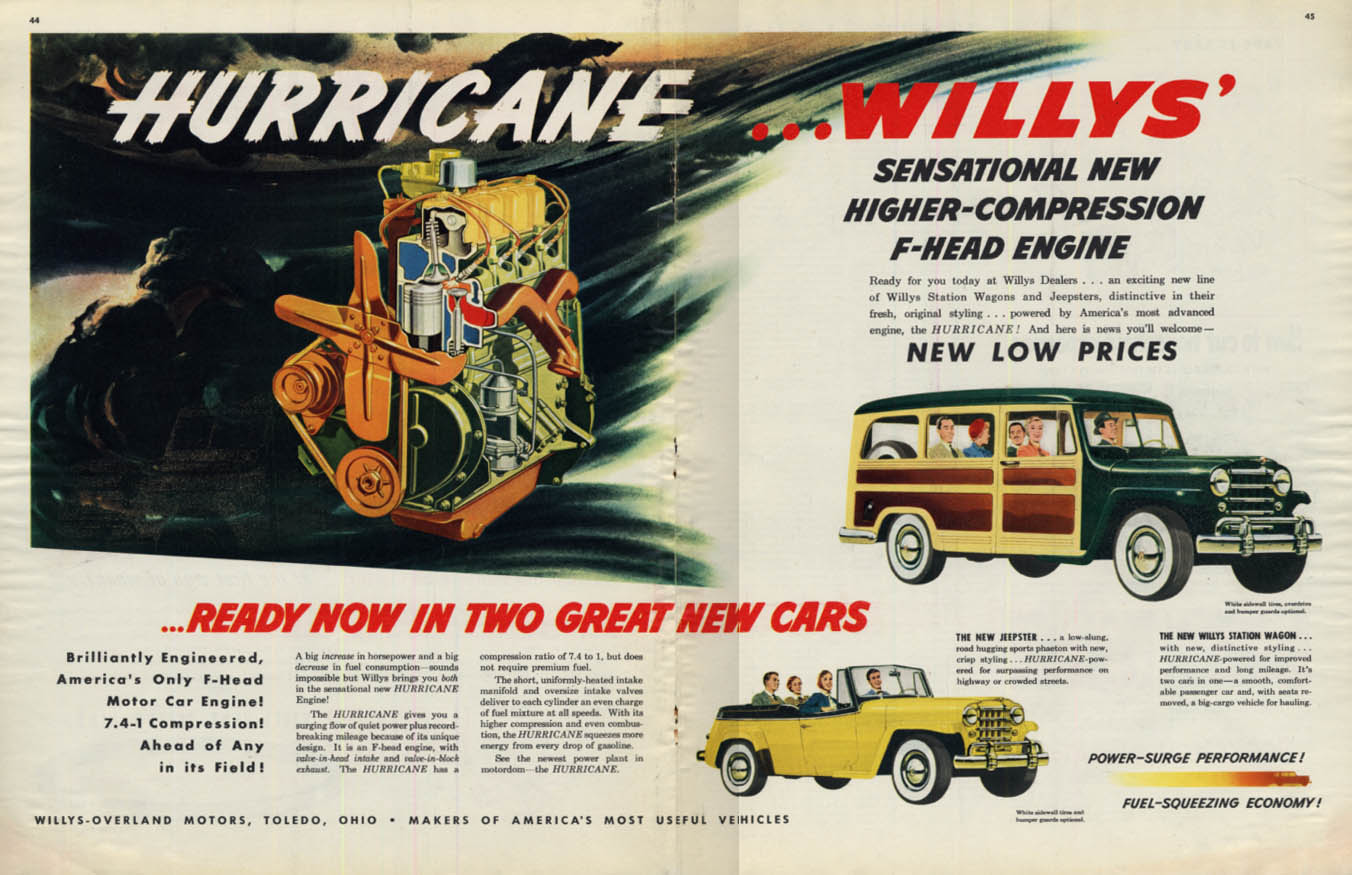 Image for Willys Hurricane engine in Willys Station Wagon & Jeepster ad 1950 Col