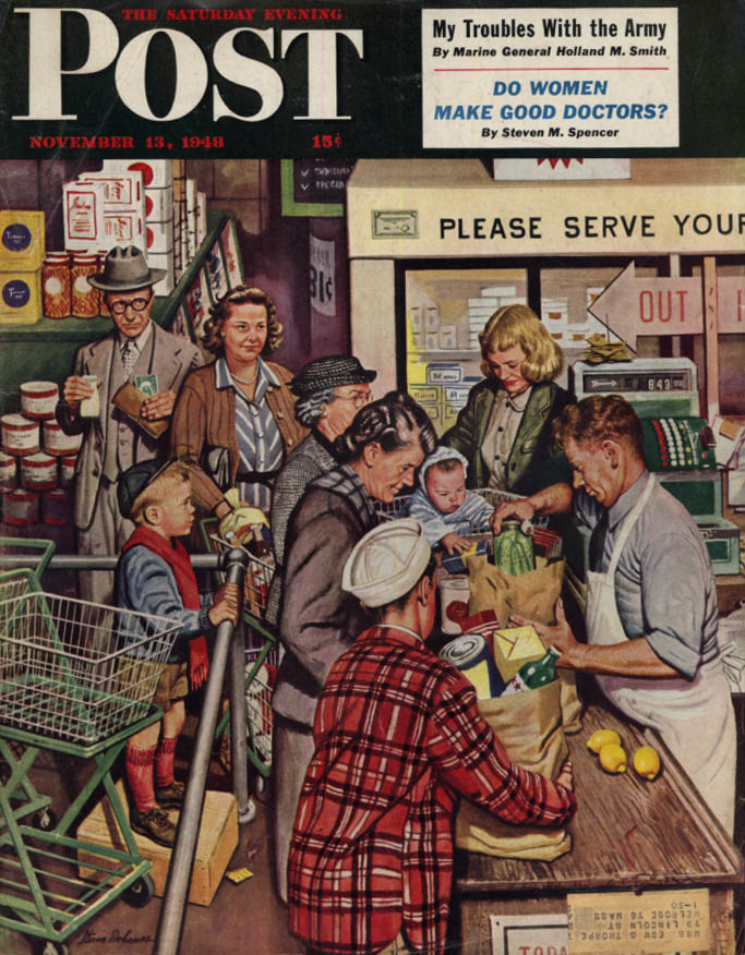 Image for SAURDAY EVENING POST COVER 11/13 1949 Grocery store checkout by Stevan Dohanos