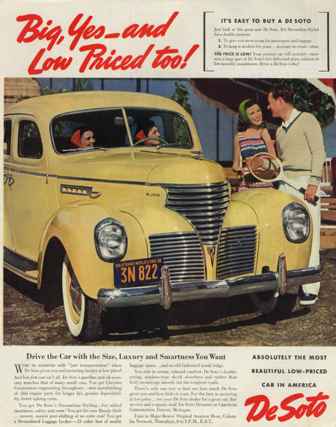 Big, Yes - and Low Priced, too! De Soto 4-door Sedan ad 1939 SEP