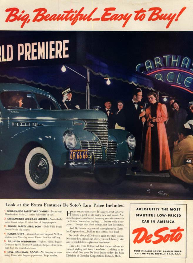 Big, Beautiful - Easy to Buy! De Soto ad 1939 L