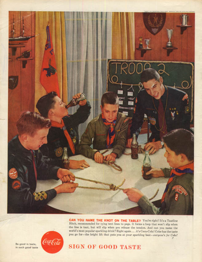 Can You Name the Knot on the Table? Boy Scouts for Coca-Cola ad 1958 BL