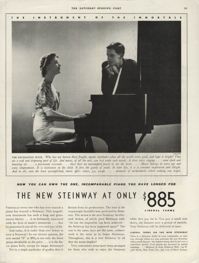 The New Steinway at only $885 piano ad 1938 Edward Steichen art: SEP