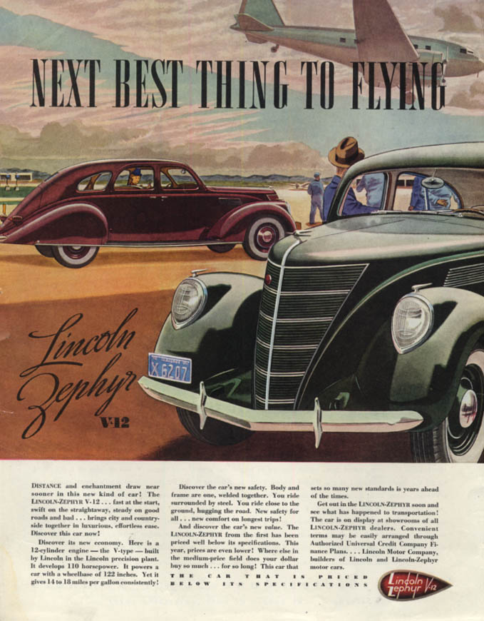 Image for Next Best Thing to Flying - Lincoln-Zephyr V-12 ad 1937 SEP