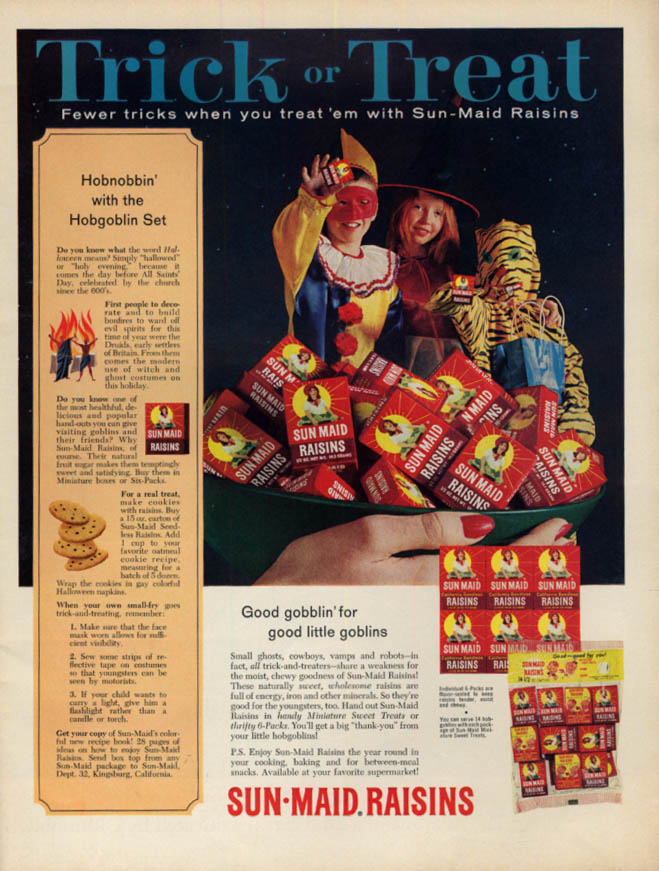 Image for Trick or Treat - Fewer tricks when you treat 'em to Sun-Maid Raisins ad 1965 L