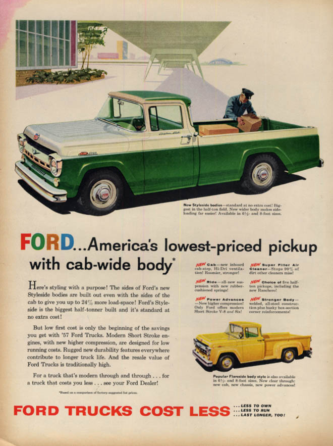 America's lowest-priced pickup with cab-wide body Ford F-100 ad  1957 L