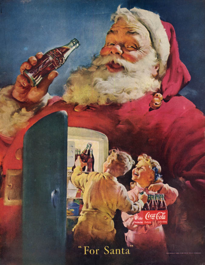 For Santa Coca-Cola ad 1950 kids put bottle six-pack in refrigerator / Col